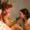 Lily Collins plays Snow White in Mirror Mirror opposite Julia Roberts as the vain Queen jealous of Snow's beauty.