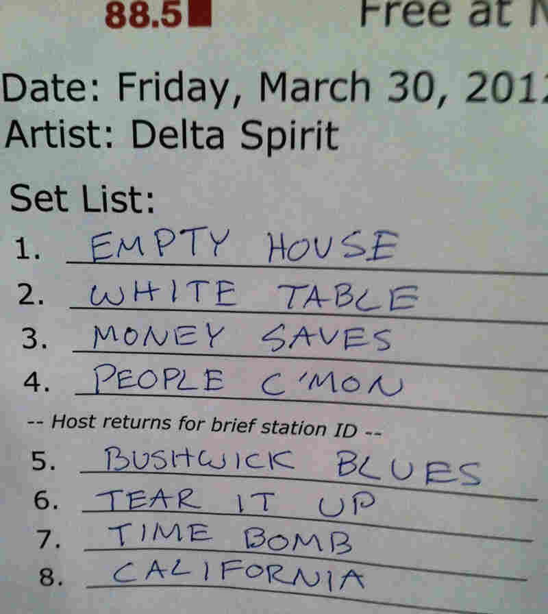 Delta Spirit's set list from Friday's show.