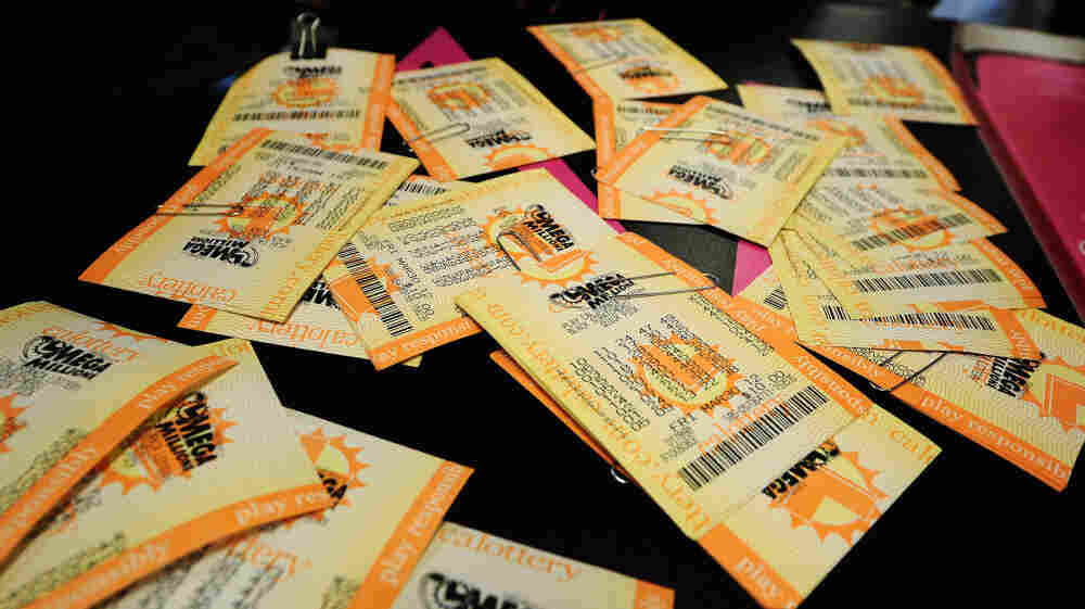 Mega Millions lottery tickets.