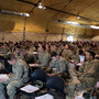 Briefings are part of the demobilization process that the 182nd Infantry Regiment must go through at Camp Atterbury in Columbus, Ind.