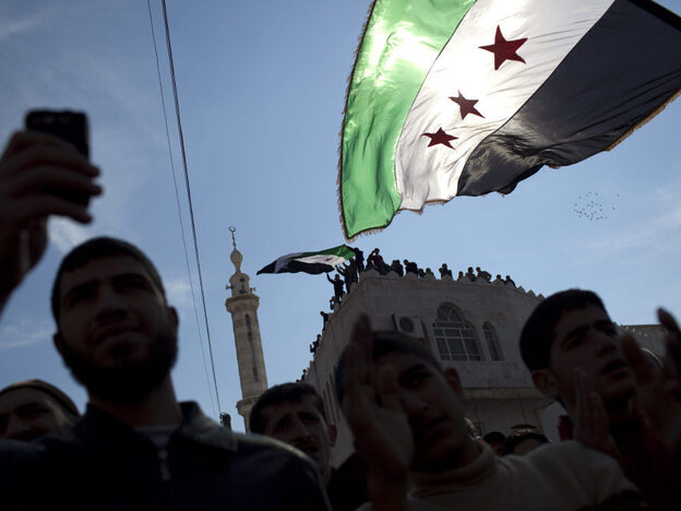 Protests in Syria have carried on despite the crackdown by the government's security forces. New Start Radio, an Internet radio station, has reported on events by speaking to citizen journalists around the country. Here, protesters take part in a March 2 demonstration in northern Syria.