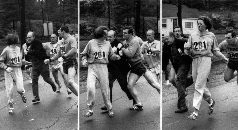 Kathrine Switzer of Syracuse found herself about to be thrown out of the normally all-male Boston Marathon when a husky companion, Thomas Miller of Syracuse, threw a block that tossed a race official out