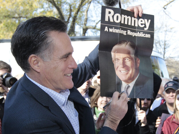 Mitt Romney with campaign poster for his father, George, in Spartanburg, SC, January 2012.