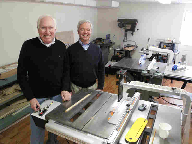 """The table saws in David Butler's (left) workshop are outfitted with prototypes of his """"Whirlwind"""" safety brake system. He and his lifelong friend Robert Calhoun filed their first Whirlwind Tool Co. patent in 2009."""