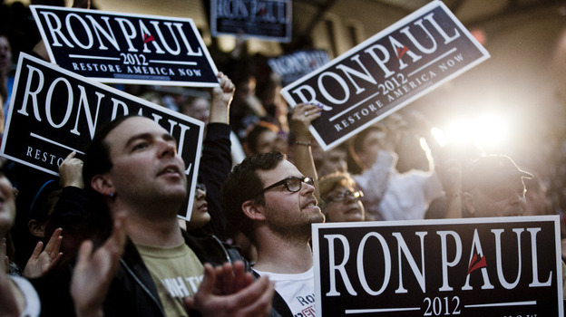 Supporters of Texas Rep. Ron Paul cheer as the Republican presidential candidate speaks on March 28 at the University of Maryland in College Park, Md. (Getty Images)