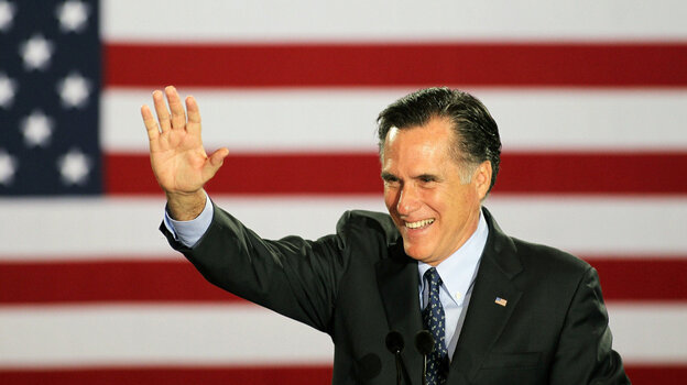 Republican presidential candidate Mitt Romney greets supporters Tuesday in Milwaukee.