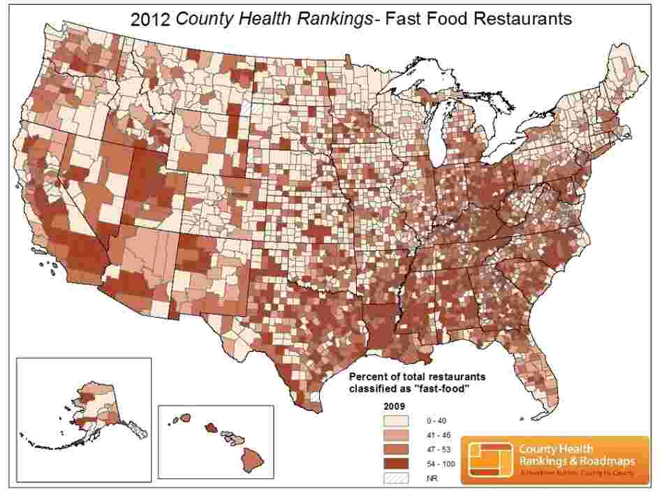 County Health Rankings measures the density of fast-food restaurants. Darker colors indicate counties with the highest percentage.