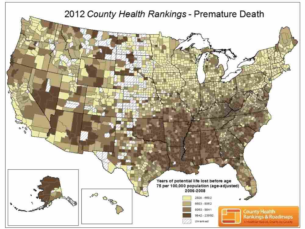 Dark spots indicate counties where more people die younger.
