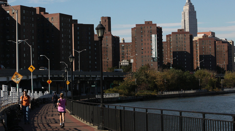 The Stuyvesant Town and Peter Cooper Village apartment complexes in New York City.
