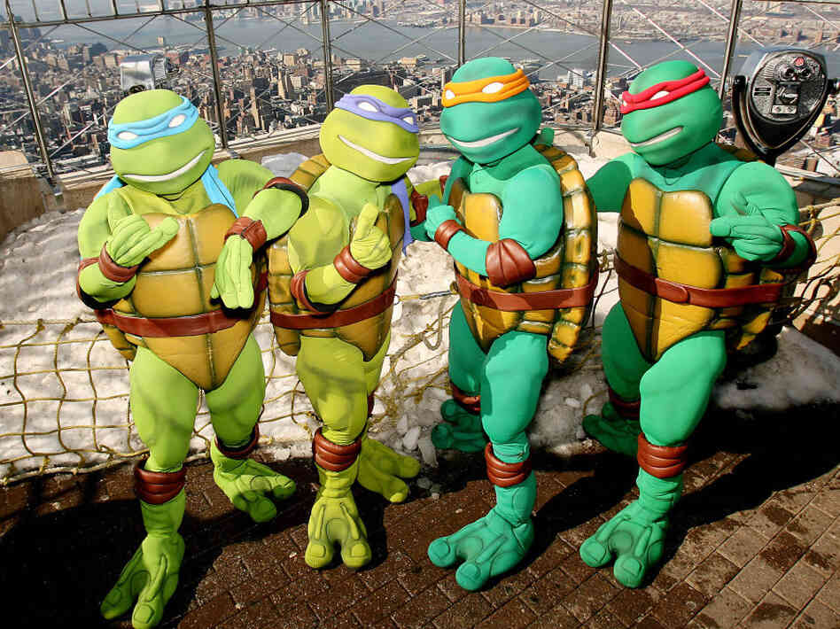 In this photo released by Warner Brothers Pictures, actors portraying the Teenage Mutant Ninja Turtles are photographed on the observation deck of the Empire State Building in New York in 2007, prior to the release of the feature film TMNT.