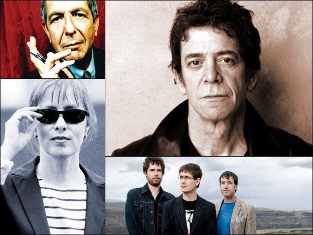 Clockwise from upper left: Leonard Cohen, Lou Reed, The Mountain Goats, Suzanne Vega.
