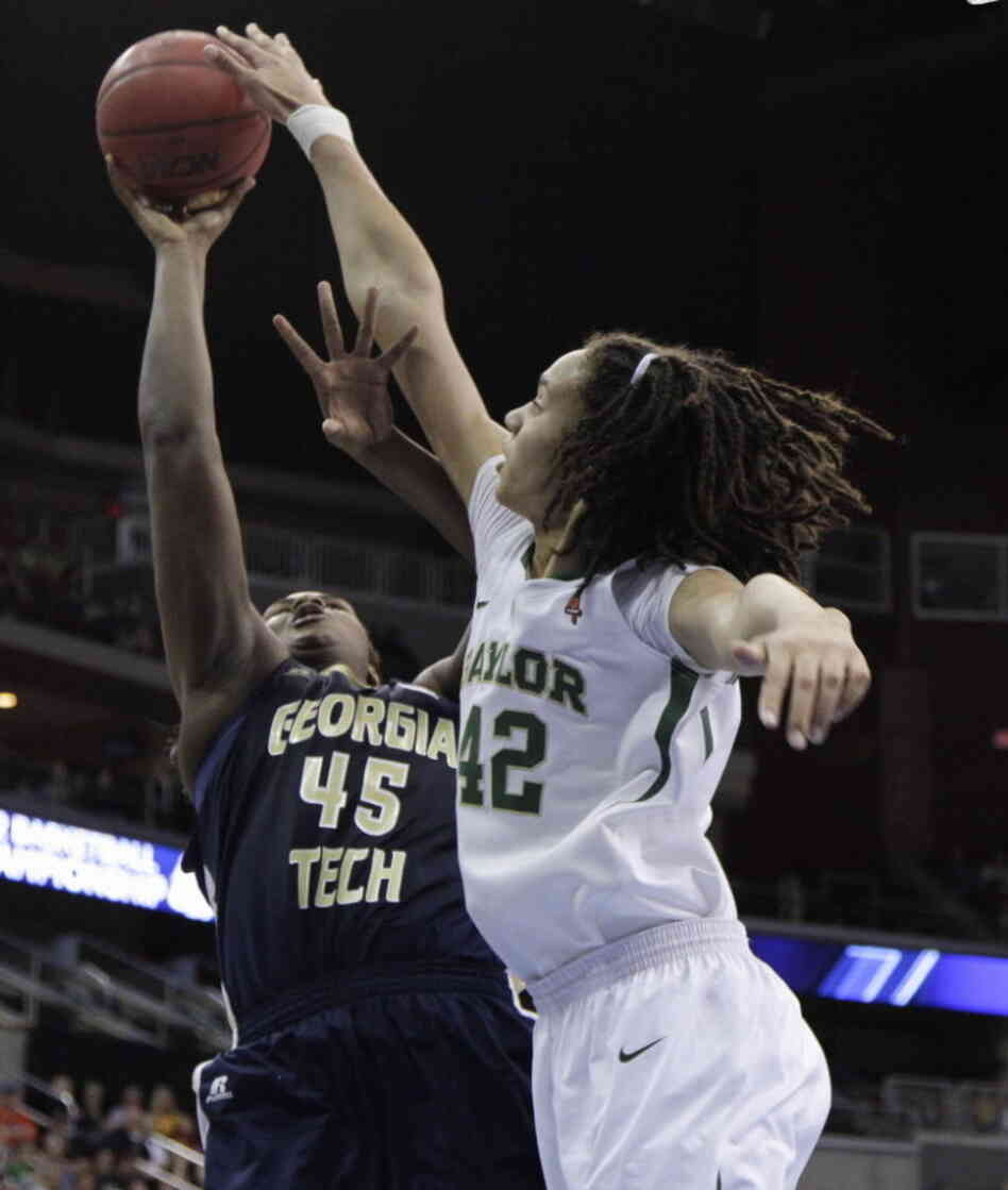 Baylor's Brittney Griner (42) blocking a shot by Georgia Tech's' Sasha Goodlett on March 24.