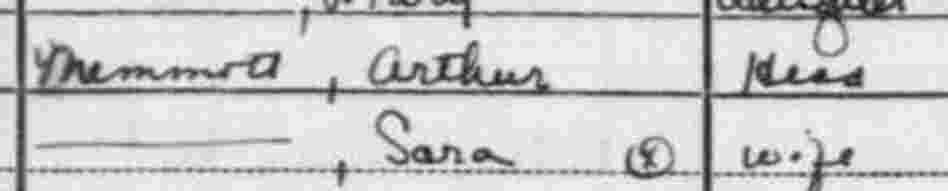 Close up of the 1940 census records for Arthur and Sara Memmott.