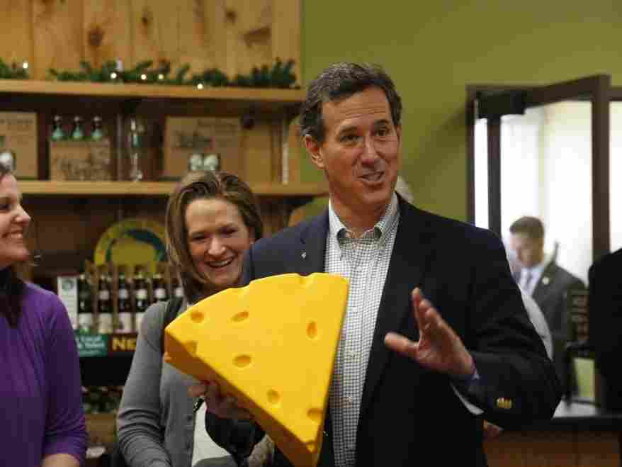 Campaigning in Wisconsin Monday, Rick Santorum hopes he'll come out ahead in the cheese state.