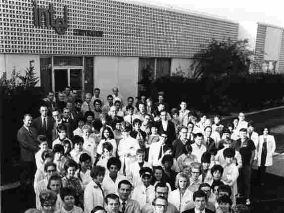 Intel's staff of just over 100 employees outside their first building in Mountain View, in 1969. Front