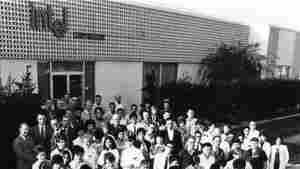 Intel's staff of just over 100 employees outside their first building in Mountain View, in 1969. Front left, co-founder Robert Noyce; front right, co-founder Gordon Moore.