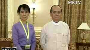 A screen grab from MRTV of Nobel Peace Prize winner Aung San Suu Kyi with Myanmar president Thein Sein during a one hour meeting in August 2011.