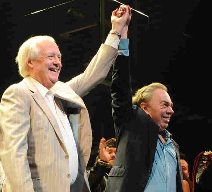 Lyricist Tim Rice and composer Andrew Lloyd Webber attend the March 22 opening of the Superstar revival on Broadway.