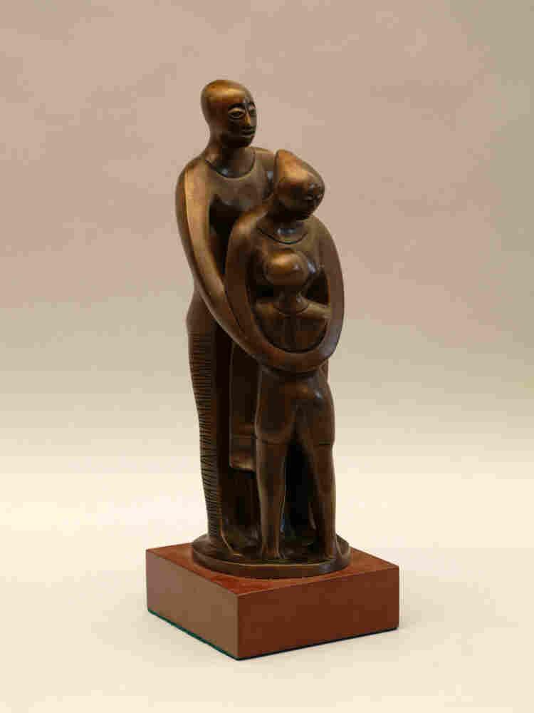 Elizabeth Catlett's bronze statue titled Family
