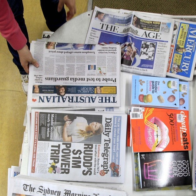 Between 6 and 7 of every 10 copies of national and metro papers sold in Australia are owned by News Ltd., News Corp.'s Australian newspaper arm. The company owns The Australian and The Daily Telegraph; while The Age and The Sydney Morning Herald are owned by rival Fairfax Media. (AP)