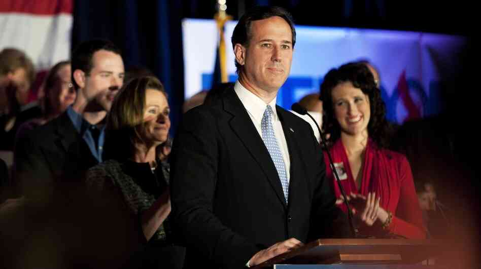Republican presidential candidate, former U.S. Sen. Rick Santorum speaks at a campaign rally at Four Seasons Sheraton in Mars, Pa., Monday night. Rival Mitt Romney won the Washington, D.C., Maryland and Wisconsin primaries.