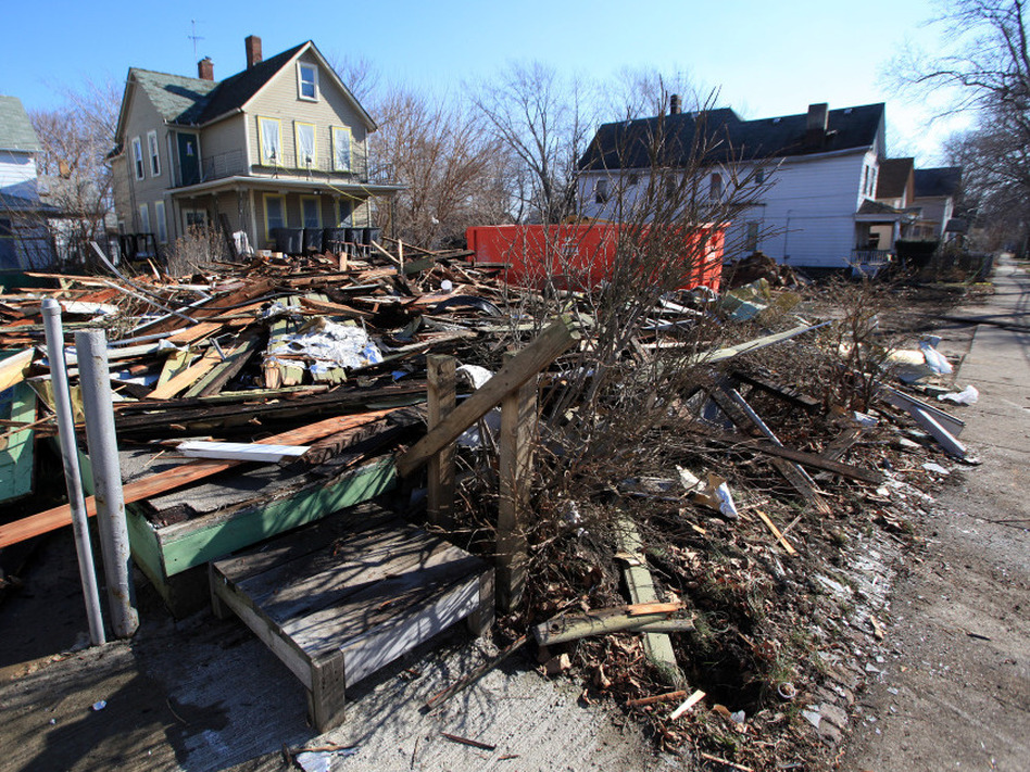 The remains of a Cleveland house after demolition in February. Ohio has set aside $75 million to raze abandoned homes across the state.