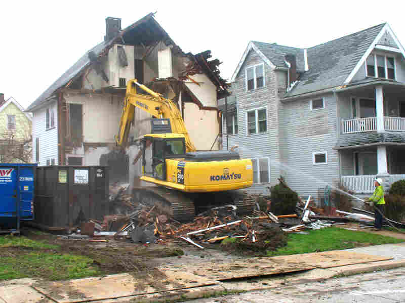 Ohio has set aside $75 million to fund the demolition of vacant houses across the state, like this abandoned home in Cleveland.