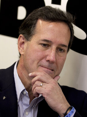 Rick Santorum at Bob's Diner in Carnegie, Pa., Wednesday.