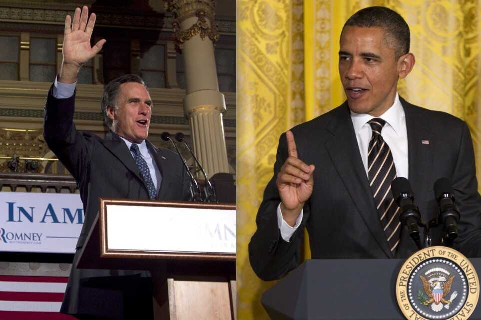 Romney and Obama photos stitched.