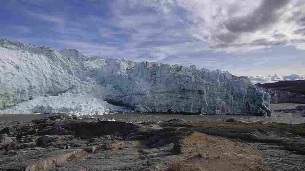 A wobbling of the Earth on its axis about 20,000 years ago may have kicked off a beginning to the end of the last ice age. Glaciers in the Arctic and Greenland began to melt, which resulted in a warming of the Earth, a new study says. Above, Greenland's Russell Glacier, seen in 1990.