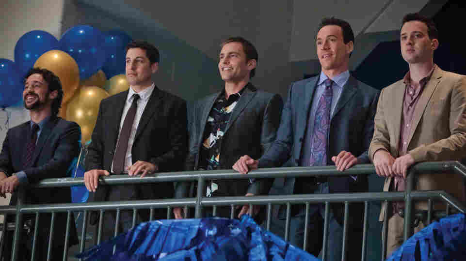 From left, Kevin (Thomas Ian Nicholas), Jim (Jason Biggs), Stifler (Seann William Scott), Oz (Chris Klein) and Finch (Eddie Kaye Thomas) are back, together again for their 13-year high school reunion.
