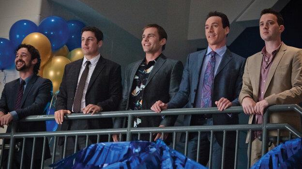 From left, Kevin (Thomas Ian Nicholas), Jim (Jason Biggs), Stifler (Seann William Scott), Oz (Chris Klein) and Finch (Eddie Kaye Thomas) are back, together again for their 13-year high school reunion.