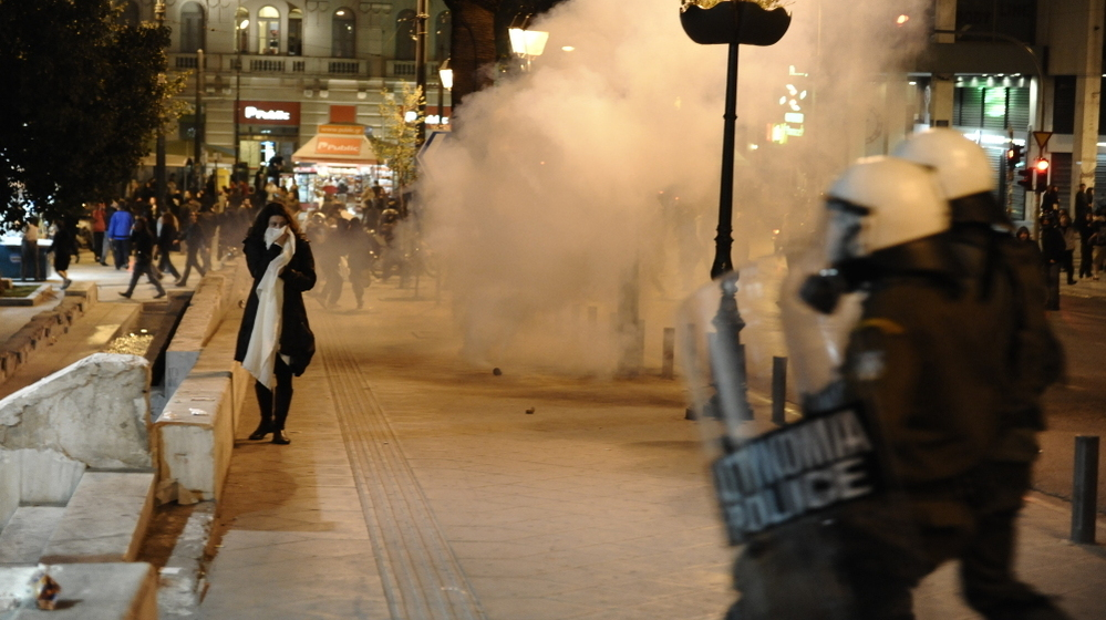Demonstrators clashed with riot police in Athens overnight.