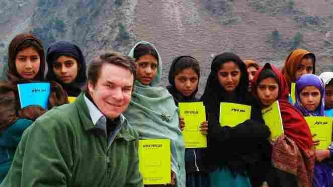 Greg Mortenson, author of Three Cups of Tea and Stone Into Schools, with schoolchildren in Azad Kashmir, Pakistan.