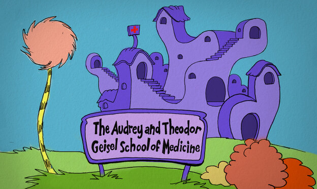An imagined new facade for Dartmouth's school of medicine (with apologies to Dr. Seuss).