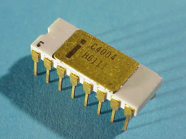 Intel produced the world's first successful microprocessor. This photo shows that famous 4004. Intel chips today are in four out of five personal computers.