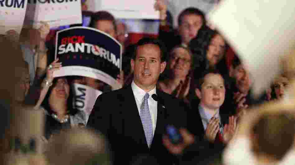 "Rick Santorum speaks in Mars, Pa., on Tuesday, after Mitt Romney swept primaries in Wisconsin, Washington, D.C., and Maryland. In his speech, Santorum declared that it's ""halftime"" in the race for delegates and the GOP nomination."