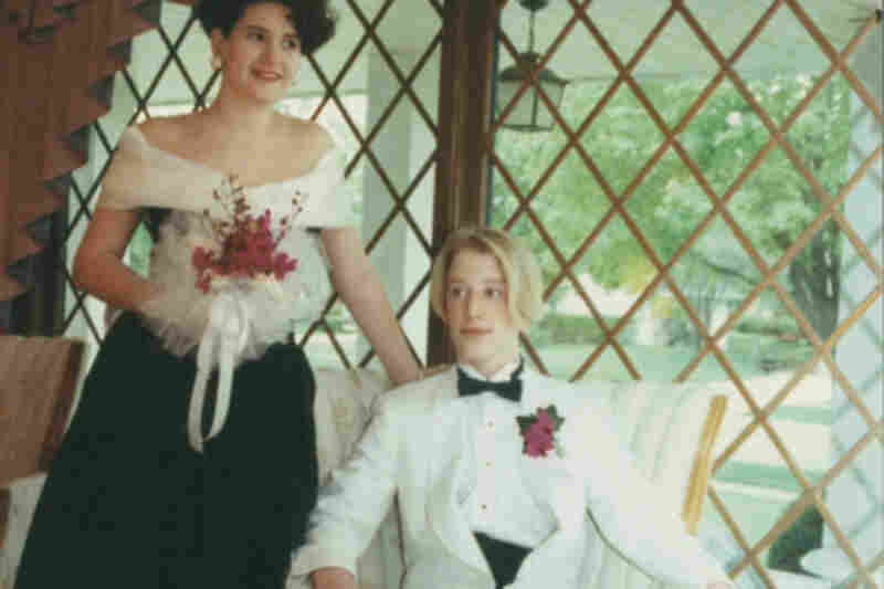 """Cari Banahoski, 1991: """"This is my friend Brett and I in 1991. I'm wearing a bridesmaid's dress and we are in the living room my stepmother decorated in late '80s/early '90s style."""""""