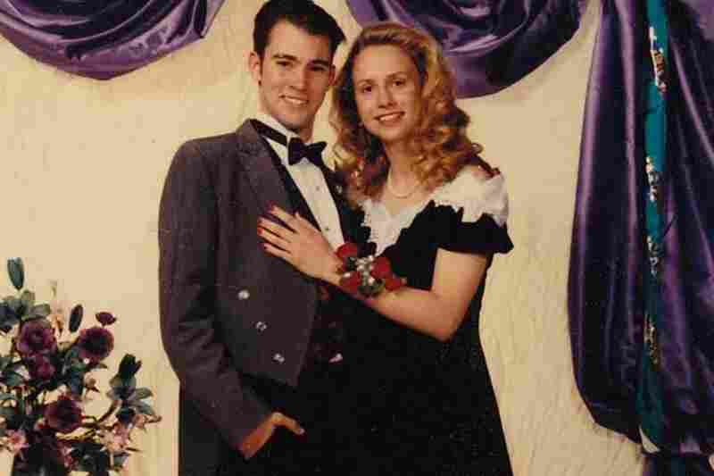 "Merry Gordon, 1994: ""Big hair. White nurse pantyhose. Off-the-shoulder dress that had to be altered — twice — because my flat chest couldn't hold it up without straps. And the guy still stuck around? Keeper. Five years later, I married my junior prom date — and now we chaperone proms for my high school students."""