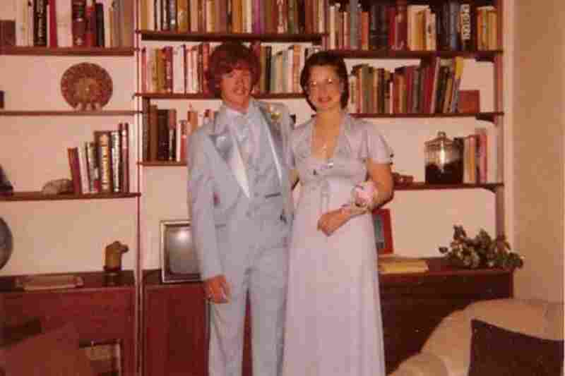 "Karen Meyer, 1979: ""Karen and Dave go to the prom in 1979. Are baby blue tuxedos still legal?"""