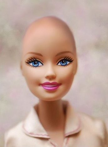 This image of a bald Barbie was created for Jane Bingham's