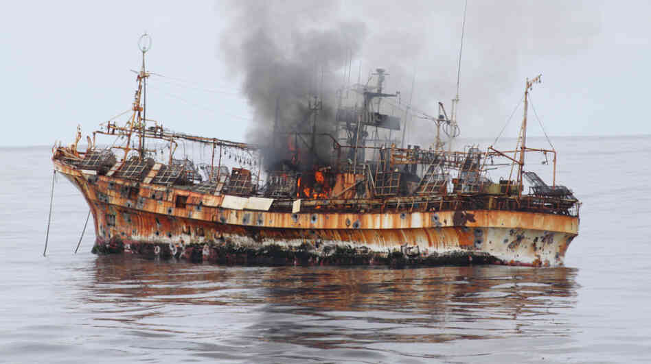 The Ryou-Un Maru after being fired upon and before it sank to the bottom of the G