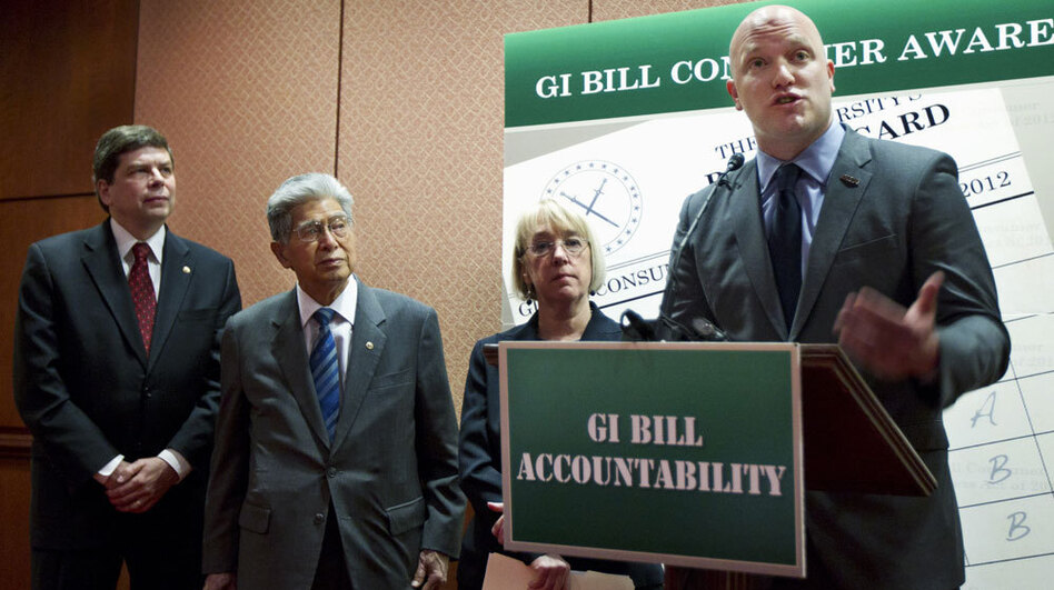 Iraq war veteran Paul Rieckhoff (right), with Democratic Sens. Mark Begich of Alaska, Daniel Akaka of Hawaii and Patty Murray of Washington, introduces the GI benefit watchdog bill in Washington. Some lawmakers say for-profit schools are taking advantage of veterans and their educational benefits. (AP)