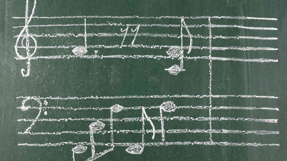 Music notes on a chalkboard.