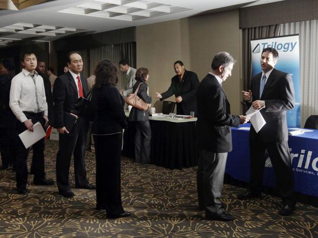 Job seekers in Boston in February, 2012. (AP)