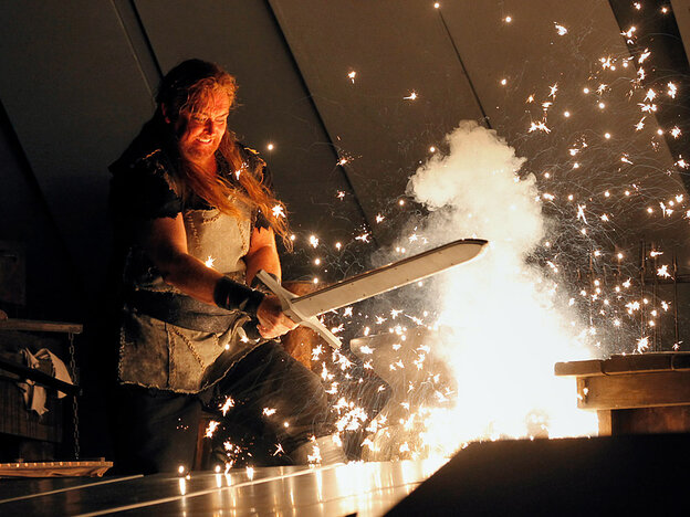 Not a new Food Network show: tenor Jay Hunter Morris, as Siegfried forging his sword, in the Metropolitan Opera's controversial Ring cycle.