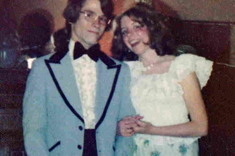 "Kathy Hale, 1974 ""I sewed my prom skirt and top based on an outfit I saw in Seventeen. The fabric for the top proved to be more sheer than I realized. ... But it was the '70s ... so I was fine with the hint of a bare midriff and a bit of bra showing. My mom, however, had other ideas."""