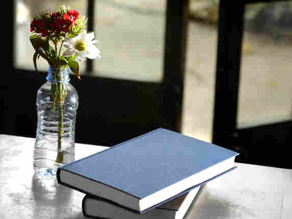 Books on a table.