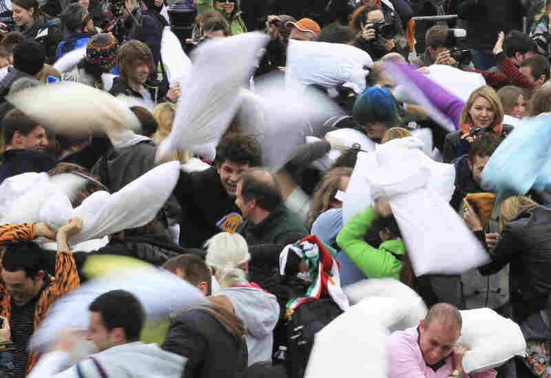 In London, the pillow fight was in Trafalgar Square.