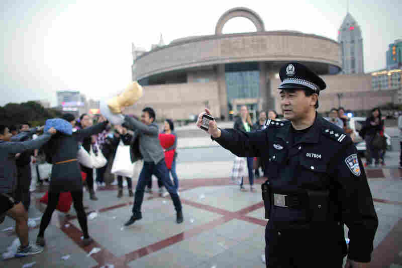 In Shanghai last Saturday, police broke up the fight.